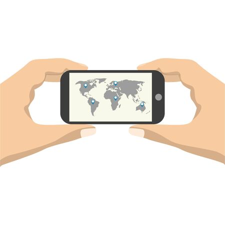 smartphone in hand: Hand  Connecting World on a smartphone. Vector illustration
