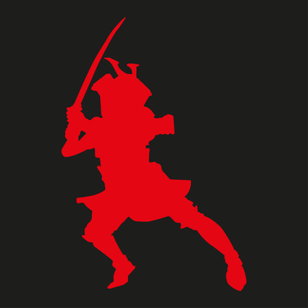 ronin: Red  silhouette of a samurai with katana on a black background Illustration