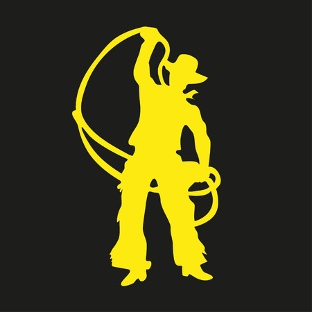 Yellow silhouette of a cowboy with a lasso on a black background