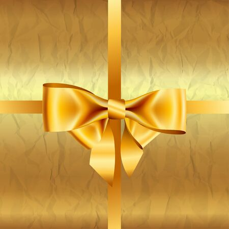 crumpled: Golden  background with crumpled paper and bow