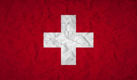 swiss flag: Swiss  flag with the effect of crumpled paper and grunge Illustration