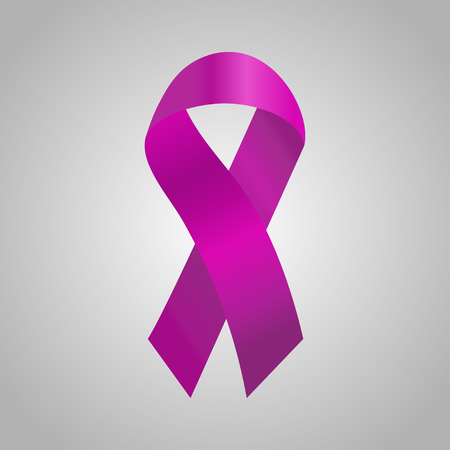 Cancer  ribbon in the purple gradient. Vector illustration