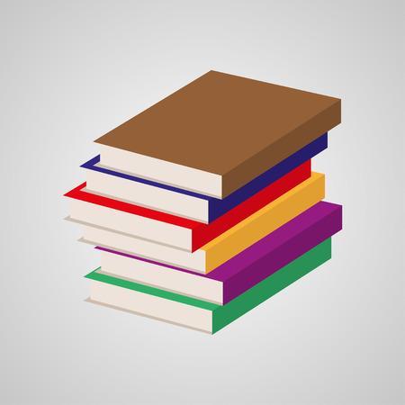 multi colored: Stack  of multi colored books. Vector illustration Illustration