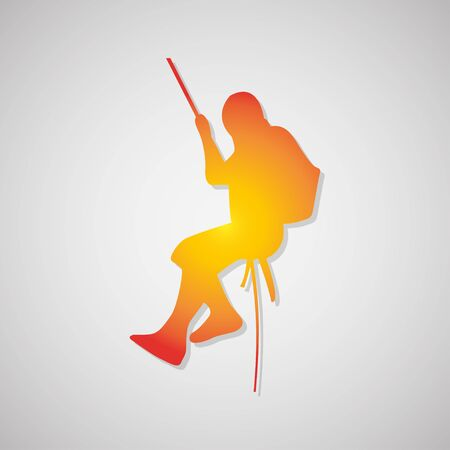 rappelling: climber  Icon with shadow in orange. Vector illustration