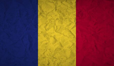 romanian: Romanian  flag with the effect of crumpled paper and grunge