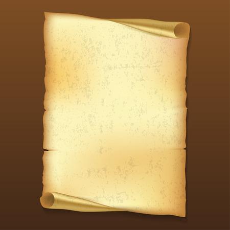 derecho romano: Antiguo rollo de papel en el fondo de color marr�n con la sombra Vectores