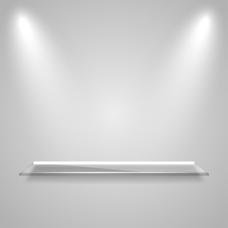 expansive: Glass  shelf with a glowing light rays