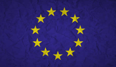rumple: European  Union flag with the effect of crumpled paper and grunge Illustration