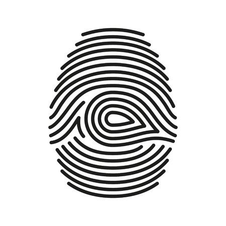 fingermark: Vector  black isolated fingerprint on white background