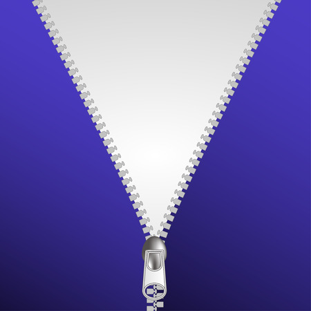 closure: Zip  closure over white and blue background vector illustration
