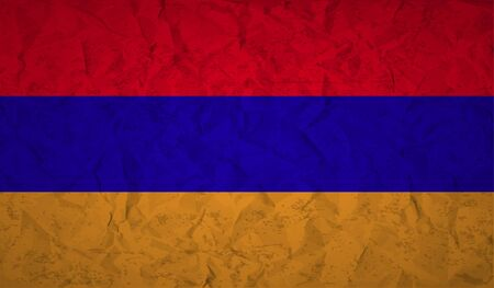 armenian: Armenian  flag with the effect of crumpled paper and grunge