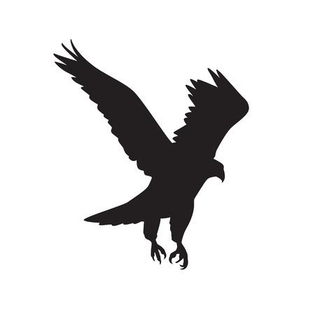 広がりの翼で飛行中の猛禽類のベクトル シルエット  イラスト・ベクター素材