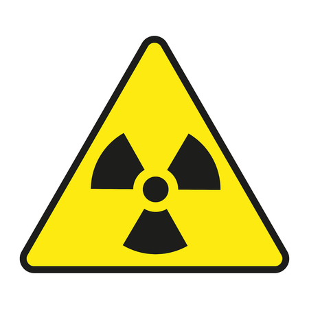 nuclear fear: Vector  illustration of radiation warning sign, isolated on white background