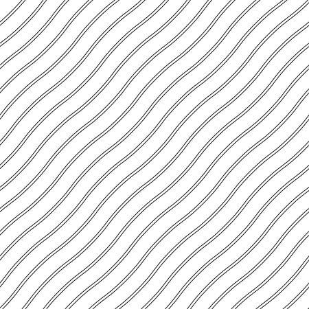 Black  seamless wavy line pattern vector illustration