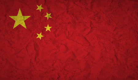 crumpled: Chinese  flag with the effect of crumpled paper and grunge