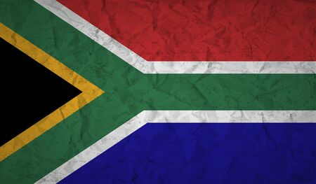 apartheid in south africa: flag  of South Africa with the effect of crumpled paper and grunge Illustration