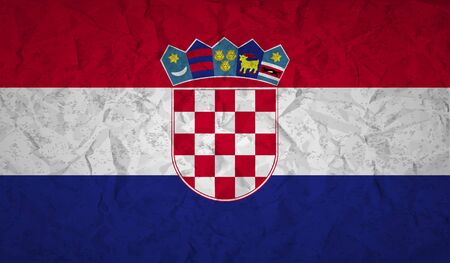 croatian: Croatian  flag with the effect of crumpled paper and grunge