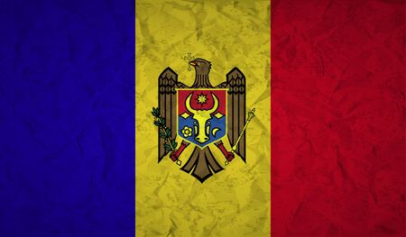 papaer: Moldovan  flag with the effect of crumpled paper and grunge