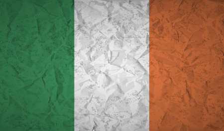 europe flag: Flag  of Ireland to the effect of crumpled paper and grunge Illustration