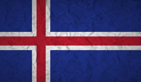 european culture: Flag  of Iceland with the effect of crumpled paper and grunge