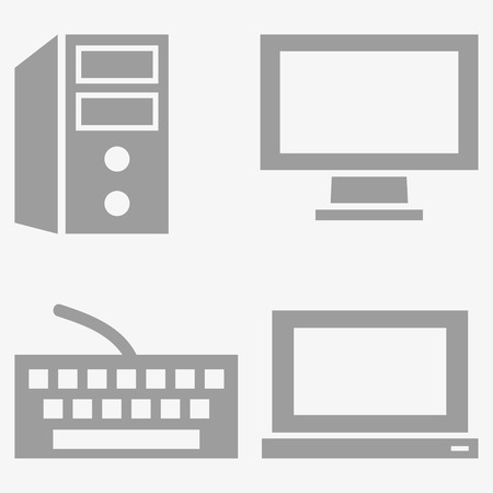 pc monitor: Computer  icon, keyboard, monitor, pc. Vector illustration
