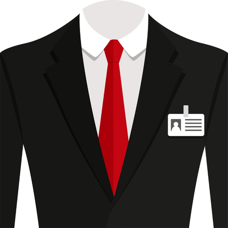 white shirt: Vector  illustration of  black man suit with red tie and white shirt