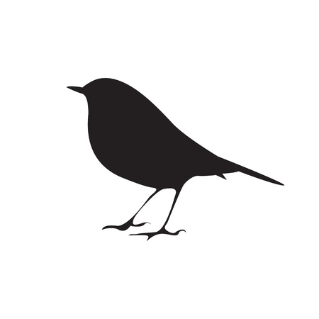 Bird  silhouette sitting on the branch. Vector symbol Illustration