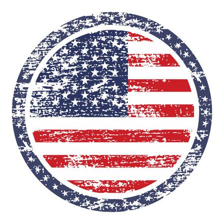 us flag grunge: United  States of America grunge flag on button stamp Illustration