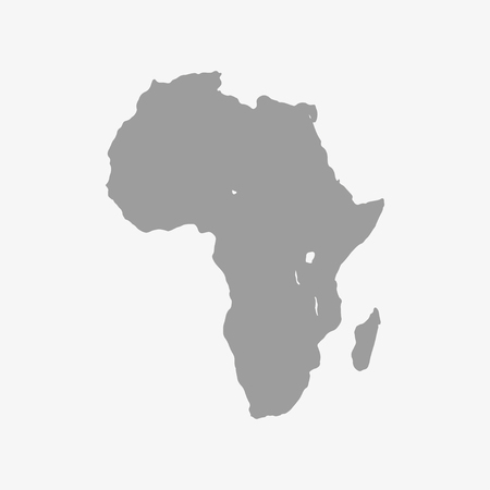 ethiopia abstract: Map  of Africa continent in gray on a white background