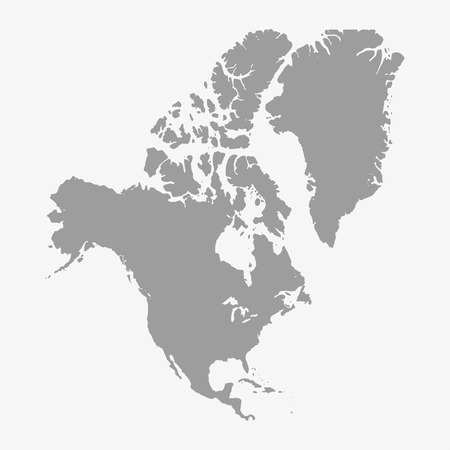 north america: Map  of North America in gray on a white background