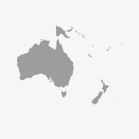oceania: Map  of Oceania in gray on a white background