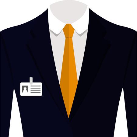 Illustrazione vettoriale di uomo completo blu con cravatta arancione e camicia bianca