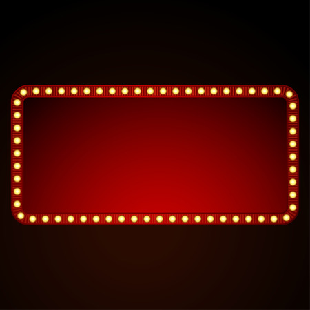 Signboard  for text with light bulbs. Vector illustration 일러스트