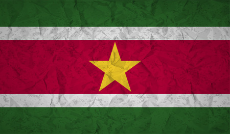 bad condition: Suriname  flag with the effect of crumpled paper and grunge