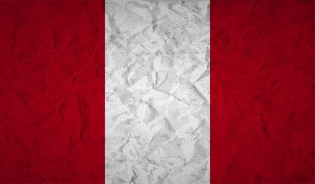 bandera peru: bandera de Per� con el efecto de papel arrugado y el grunge