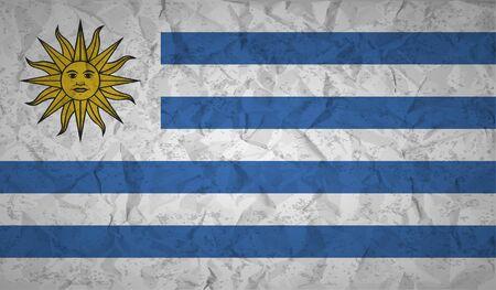 bandera de uruguay: bandera de Uruguay con el efecto de papel arrugado y el grunge