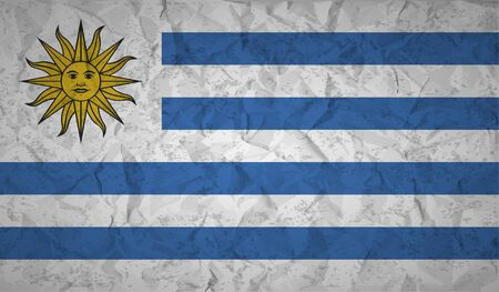 bandera de uruguay: Uruguay  flag with the effect of crumpled paper and grunge Vectores