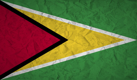 guyanese: Guyana  flag with the effect of crumpled paper and grunge Illustration