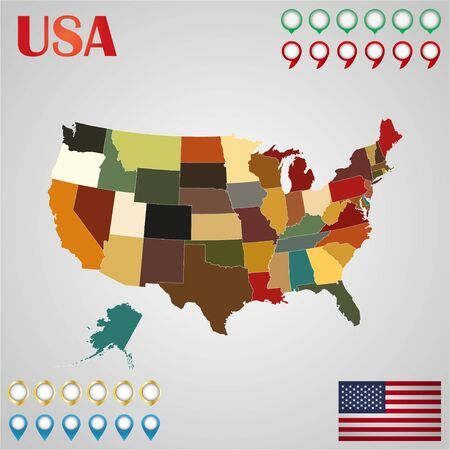 United  States map with separated states, flag and geo Illustration