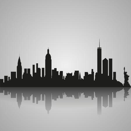 反射とニューヨーク市の黒いシルエットは。ベクトル図