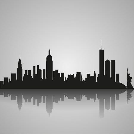 Black  silhouette of New York City with reflection. Vector illustration
