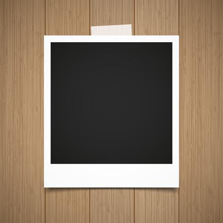 snapping: Photo  frame stick on vintage wooden texture. Vector illustration. Illustration