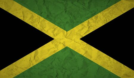 jah: Flag  of Jamaica with the effect of crumpled paper and grunge