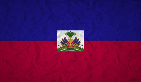 crumpled: Haiti  flag with the effect of crumpled paper and grunge Illustration