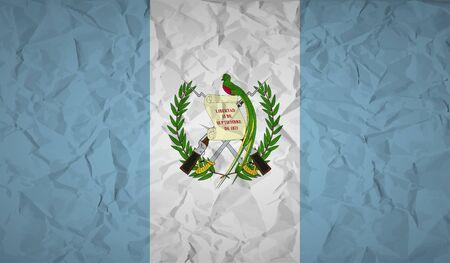 bandera de guatemala: bandera de Guatemala con el efecto de papel arrugado. ilustración vectorial