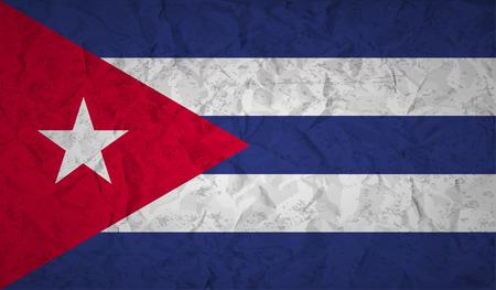 bandera de cuba: Bandera de Cuba con el efecto de papel arrugado y el grunge Vectores