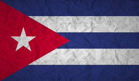 cuban: Flag  of Cuba with the effect of crumpled paper and grunge