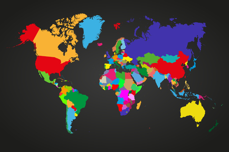 dependent: Colored  political world map with sovereign countries and larger dependent territories. Different colors for each countries
