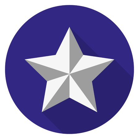 silver star: Silver  star on a background of a blue circle with a shadow Illustration