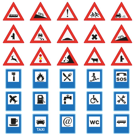 Big  set of road signs. Red and blue Illustration